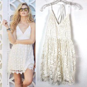 Hollister White Strappy Back Lace Dress - Small